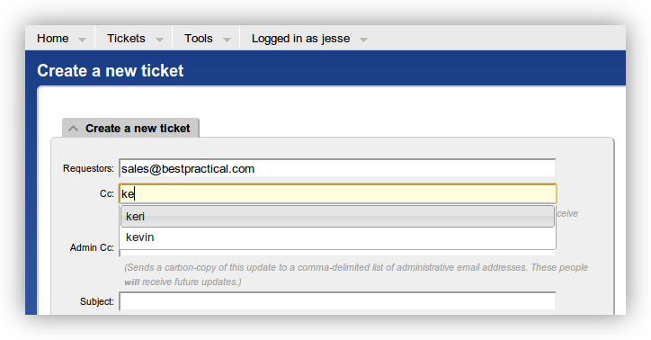 Screenshot: autocomplete for ticket create