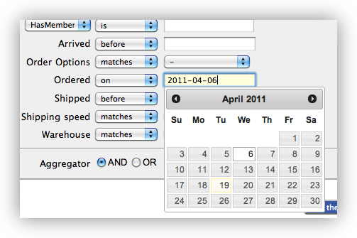 Screenshot: search for a datetime