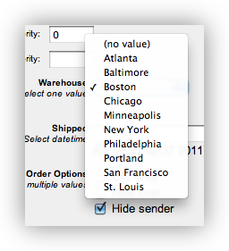 Screenshot: dropdown custom field
