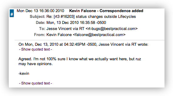 Screenshot: ticket correspondence with quote folds closed