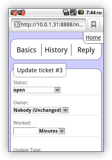 Screenshot: mobile UI on Android